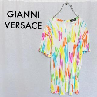 ジャンニヴェルサーチ(Gianni Versace)の【極美品】GIANNI VERSACE ヴェルサーチ 総柄 落書きカットソー(Tシャツ(半袖/袖なし))