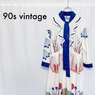 90s ヴィンテージ 総柄 ギャザー ドレープ ワンピース ドレス レディース