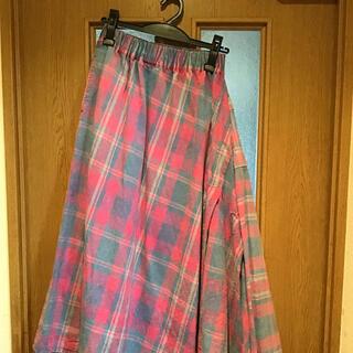 ロデオクラウンズ(RODEO CROWNS)の良品 RODEO CROWNS  変形スカート チェック ピンク(ひざ丈スカート)