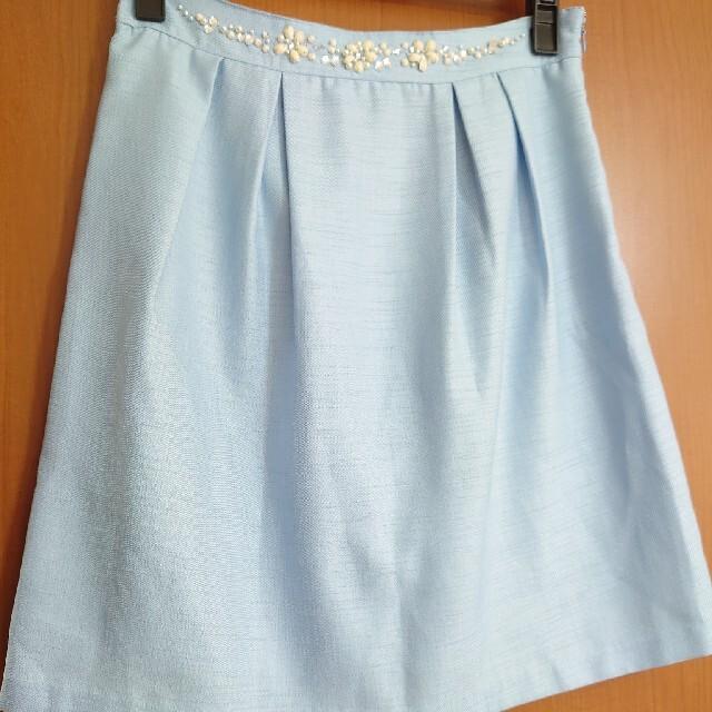 fuerte ビジュー タック ミニスカート FREE ライトブルー レディースのスカート(ミニスカート)の商品写真