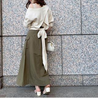 フーズフーチコ(who's who Chico)のback裾リボン5分袖プルオーバー(カットソー(半袖/袖なし))