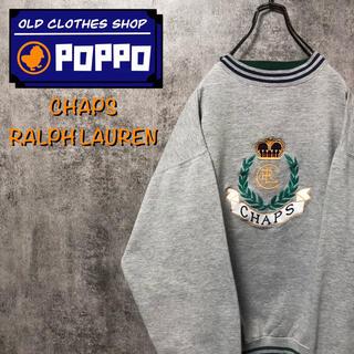 Ralph Lauren - チャップスラルフローレン☆エンブレム刺繍ビッグロゴラインリブスウェット 90s