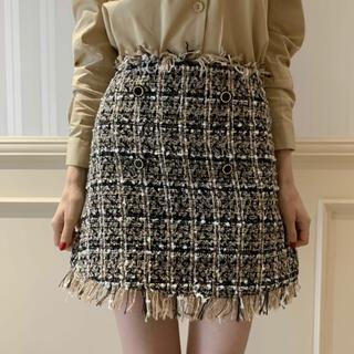 【épine】 tweed mini skirt beige