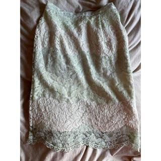 マーキュリーデュオ(MERCURYDUO)の清楚な優しいグリーン レースタイトスカート(ひざ丈スカート)