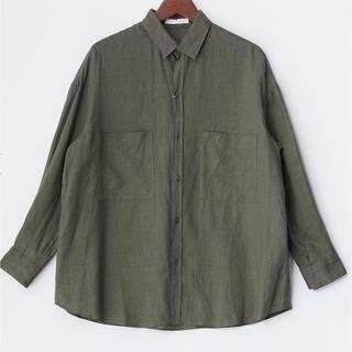 TOMORROWLAND - リネン 麻 ビッグシャツ チャコールグレー Galerie Vie  新品未使用