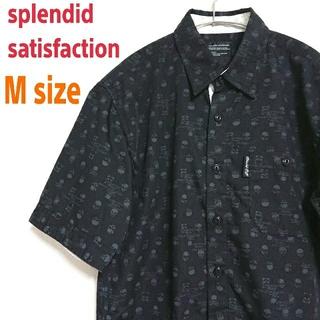 splendid satisfaction 黒 スカル 柄シャツ ロックシャツ