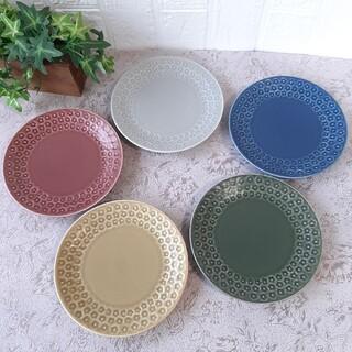 【5枚】日本製 美濃焼 花スタンプ 取り皿 ケーキ皿 パン皿 マルチカラー(食器)