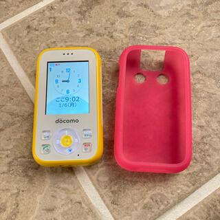 エヌティティドコモ(NTTdocomo)のdocomo HW-01G キッズケータイ黄色(携帯電話本体)