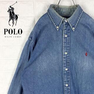 ポロラルフローレン(POLO RALPH LAUREN)のラルフローレン デニムシャツ 刺繍ワンポイントロゴ ポニー ボタンダウン 90s(シャツ)
