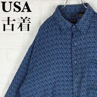 ポロラルフローレン(POLO RALPH LAUREN)のUSA古着 ゆるだぼ90s 総柄シャツ ブルー ブラック XXL オーバーサイズ(シャツ)