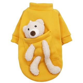 犬服 小型犬用Lサイズ くまちゃんぬいぐるみ付き 黄色トレーナー (ペット服/アクセサリー)