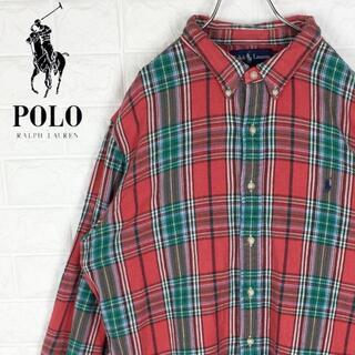 ポロラルフローレン(POLO RALPH LAUREN)のラルフローレン チェックシャツ 刺繍ワンポイントロゴ ポニー ボタンダウン90s(シャツ)