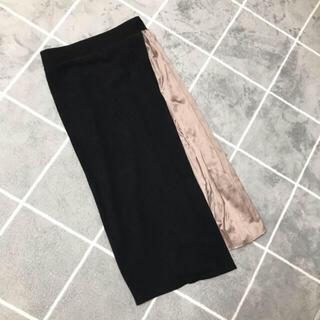 ザラ(ZARA)の新品未使用 プリーツ 切り替え スカート 黒 春秋冬(ひざ丈スカート)