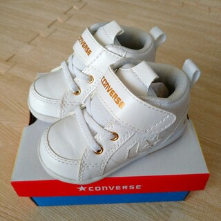 コンバース(CONVERSE)のコンバースファーストスターミニインチスターホワイトゴールド白ファーストシューズ靴(スニーカー)