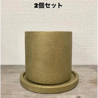 ゴールド セメント鉢受皿付き(プランター)
