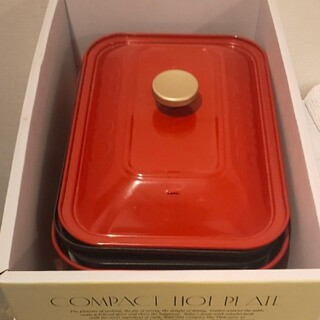 I.D.E.A international - BRUNO コンパクトホットプレート 赤  お皿おまけつき