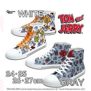 最安値 トムとジェリー ハイカットスニーカー グレー 総柄 24cm 靴