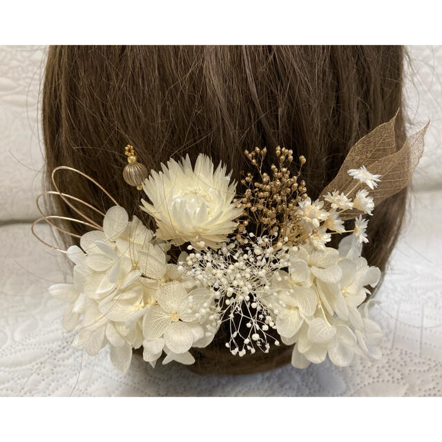 髪飾り 白金gw  R-23   ヘッドパーツ 結婚式 卒業式 成人式 七五三 ハンドメイドのアクセサリー(ヘアアクセサリー)の商品写真