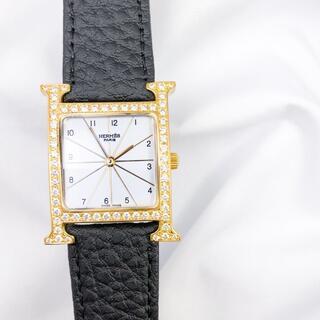 エルメス(Hermes)の【仕上済/ベルト2本】エルメス Hウォッチ ゴールド ダイヤ メンズ 腕時計(腕時計(アナログ))