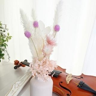 ホワイトピンクスワッグ&フラワーベース(ドライフラワー)
