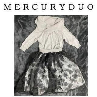マーキュリーデュオ(MERCURYDUO)のマーキュリーデュオ 切り替え 花柄オフショルダーニットワンピース(ひざ丈ワンピース)