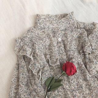 Lochie - 古着 花柄 フリル 長袖ブラウス