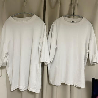 UNIQLO - 2着組 XLサイズ ユニクロ エアリズムコットンオーバーサイズTシャツ ホワイト