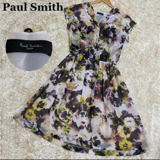 Paul Smith - 【美品】Paul Smith ワンピース 膝丈 ノースリーブ 花柄 総柄 38