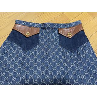 グッチ(Gucci)の期間限定●GUCCIグッチGGデニム茶レザー装飾台形スカート42新品(ひざ丈スカート)
