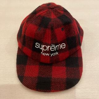 Supreme - *美品supreme red check classic logo cap*