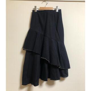 ルシェルブルー(LE CIEL BLEU)のLe ciel bleu ペプラムフレアスカート デニム(ロングスカート)