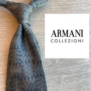 ARMANI COLLEZIONI - アルマーニコレツォーニ イタリア高級シルク100% ネクタイ グレー