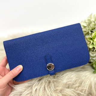 エルメス(Hermes)の美品 エルメス ドゴンロング トリヨンノビーヨ ブルー(財布)