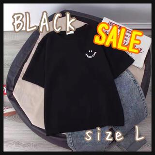 SALE スマイル Tシャツ ブラック 黒 半袖 ビッグシルエット 韓国 L