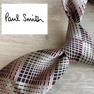 ポールスミス(Paul Smith)のポールスミス 日本製シルク100%ネクタイ ブランド ピンクチェック 総柄(ネクタイ)