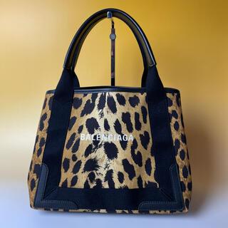 バレンシアガ(Balenciaga)のBALENCIAGA 美品 レオパード ネイビーカバス 豹柄  バレンシアガ(ハンドバッグ)
