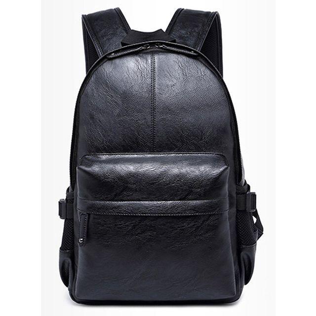 ★リュックサック おしゃれ メンズ 黒 防水 大容量 PU レザー 軽量★ メンズのバッグ(バッグパック/リュック)の商品写真