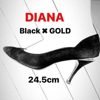 DIANA - DIANA◆ダイアナ スウェード 黒/ブラック✖️ゴールド ハイヒール 24.5
