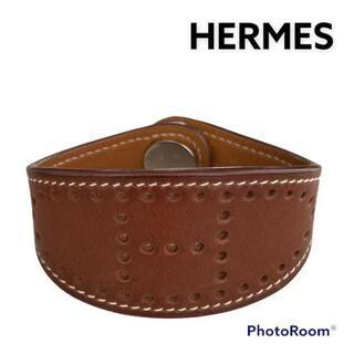 エルメス(Hermes)の美品 HERMES エルメス エブリン ブレスレット J刻 ブラウン パンチング(ブレスレット/バングル)