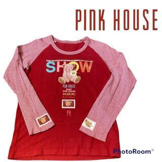 ピンクハウス(PINK HOUSE)のPINK HOUSE ピンクハウス 長袖 カットソー 赤 チェック パッチワーク(Tシャツ(長袖/七分))