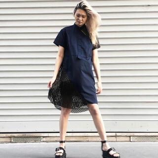 サカイ(sacai)のsacai Cotton Poplin Embroidery LaceDress(ひざ丈ワンピース)