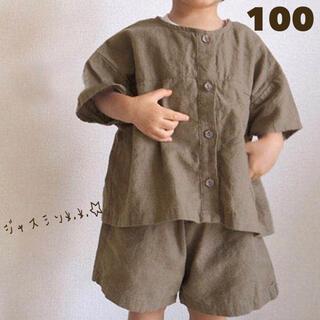 100 ブラウン カーキ トップス ズボン 2点セット セットアップ 韓国子供服