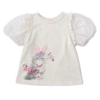 mezzo piano - メゾピアノ ウサギ 猫 Tシャツ 130
