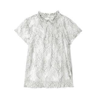 グレイル(GRL)のGRL ハイネックフラワーレーストップス ブラウス 人気 上品 韓国ファッション(シャツ/ブラウス(半袖/袖なし))