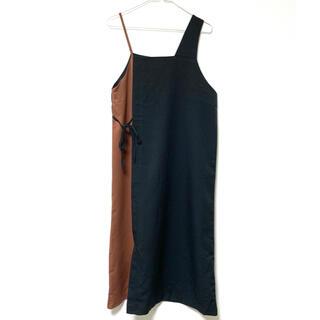 ユナイテッドアローズ(UNITED ARROWS)のユナイテッドアローズ バイカラー ロングワンピース 袖なし ブラック M(ロングワンピース/マキシワンピース)