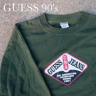 ゲス(GUESS)の90's GUESS usa製 グリーンTシャツ XL ビックシルエット(Tシャツ/カットソー(半袖/袖なし))