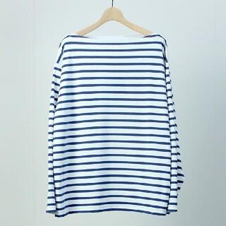 コモリ(COMOLI)のOUTIL TORICOT AAST WHITE / NAVY 2(Tシャツ/カットソー(七分/長袖))