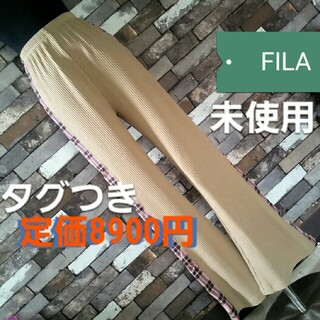 フィラ(FILA)のFILA ニット パンツ ピンク茶色 チェック柄(カジュアルパンツ)