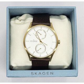 スカーゲン(SKAGEN)の【送料無料】スカーゲン SKAGEN ホワイト×ゴールド SKW6066 レザー(腕時計(アナログ))