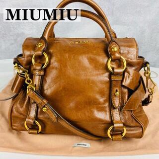 miumiu - 【美品】ミュウミュウ 2wayバッグ ブラウン サイドリボン コンパクト